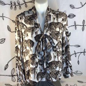 H&M leaperd print long sleeve top ties at neckline